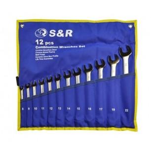 Zestaw kluczy płasko-oczkowych  w pokrowcu S&R 12 szt.