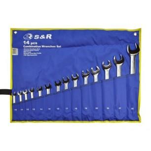 Zestaw kluczy płasko-oczkowych  w pokrowcu S&R  14 szt.